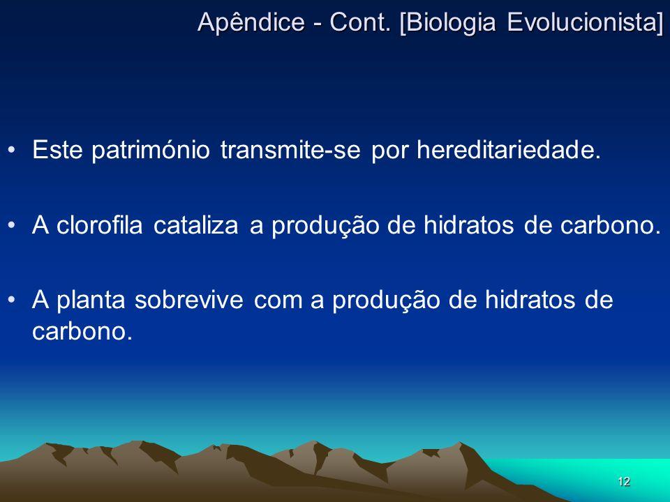 Apêndice - Cont. [Biologia Evolucionista]